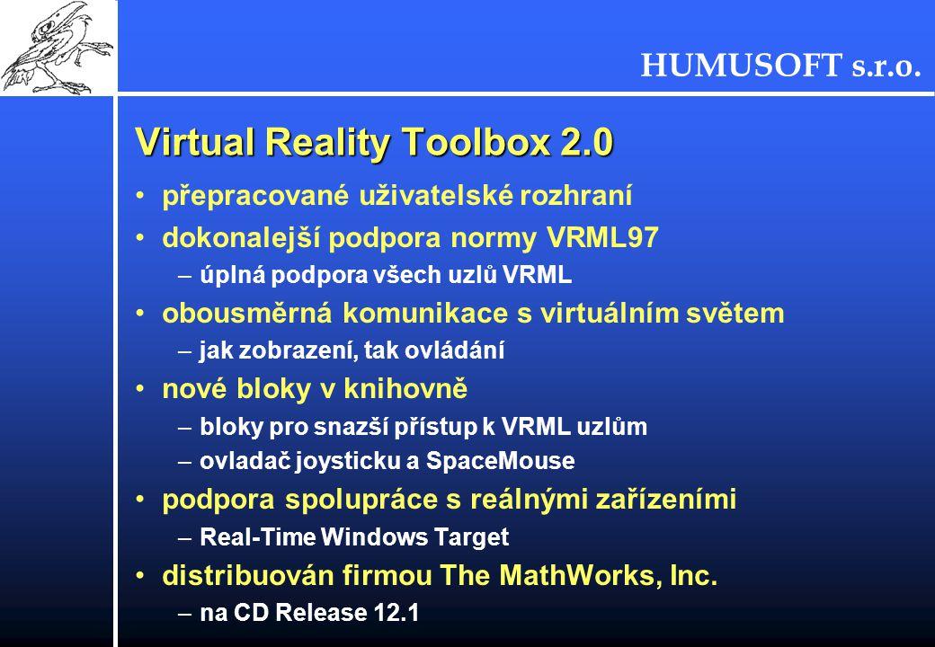 HUMUSOFT s.r.o. Virtual Reality Toolbox 2.0 přepracované uživatelské rozhraní dokonalejší podpora normy VRML97 –úplná podpora všech uzlů VRML obousměr