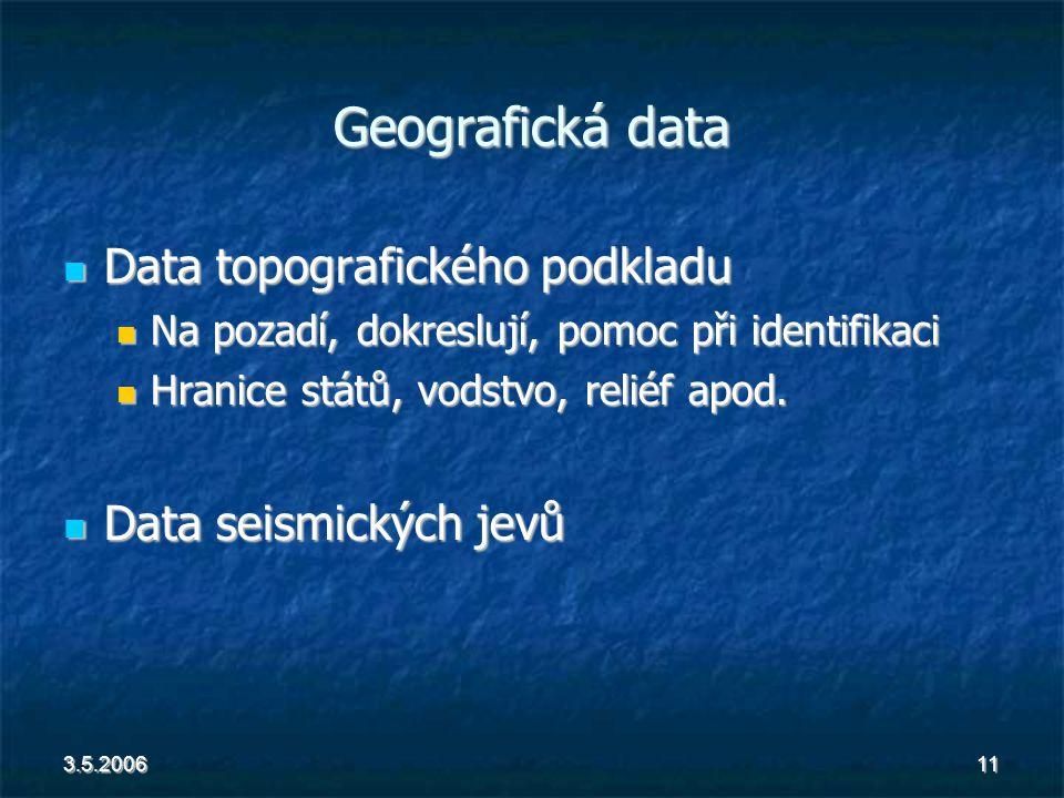 3.5.200611 Geografická data Data topografického podkladu Data topografického podkladu Na pozadí, dokreslují, pomoc při identifikaci Na pozadí, dokreslují, pomoc při identifikaci Hranice států, vodstvo, reliéf apod.