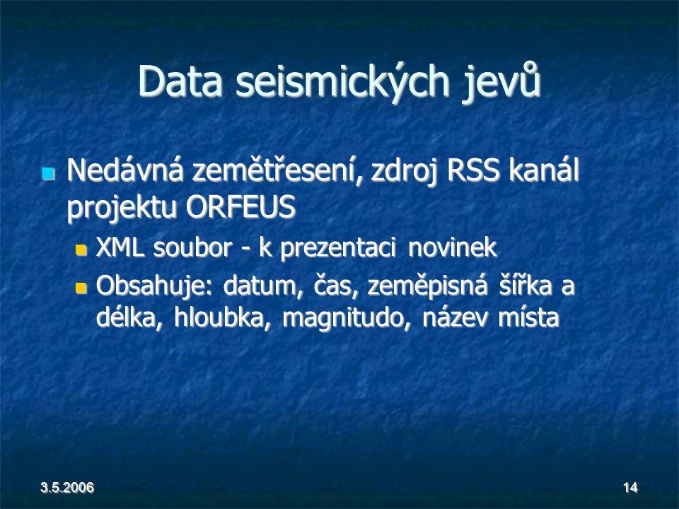 3.5.200614 Data seismických jevů Nedávná zemětřesení, zdroj RSS kanál projektu ORFEUS Nedávná zemětřesení, zdroj RSS kanál projektu ORFEUS XML soubor - k prezentaci novinek XML soubor - k prezentaci novinek Obsahuje: datum, čas, zeměpisná šířka a délka, hloubka, magnitudo, název místa Obsahuje: datum, čas, zeměpisná šířka a délka, hloubka, magnitudo, název místa
