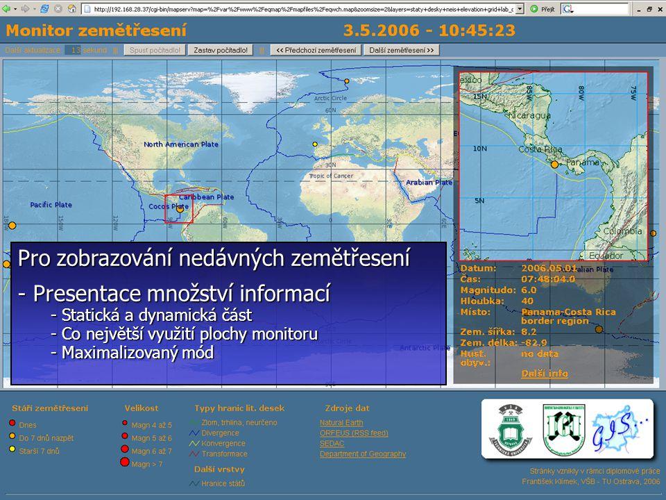 3.5.200617 Pro zobrazování nedávných zemětřesení - Presentace množství informací - Statická a dynamická část - Co největší využití plochy monitoru - Maximalizovaný mód