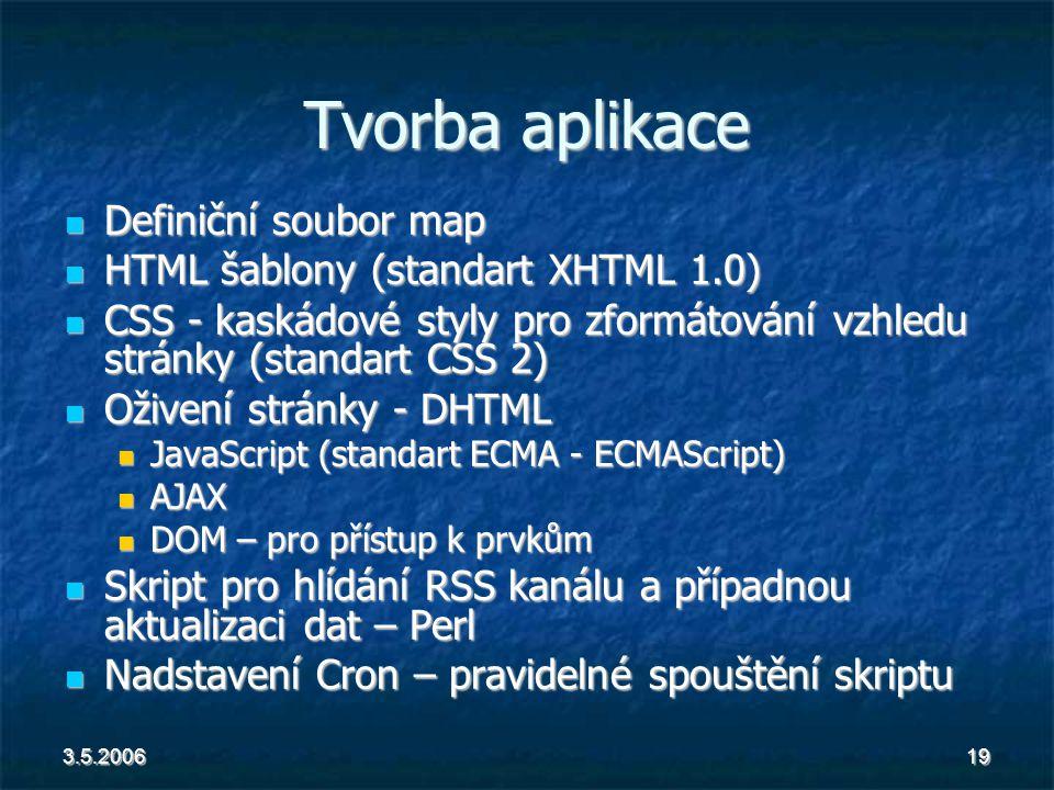 3.5.200619 Tvorba aplikace Definiční soubor map Definiční soubor map HTML šablony (standart XHTML 1.0) HTML šablony (standart XHTML 1.0) CSS - kaskádové styly pro zformátování vzhledu stránky (standart CSS 2) CSS - kaskádové styly pro zformátování vzhledu stránky (standart CSS 2) Oživení stránky - DHTML Oživení stránky - DHTML JavaScript (standart ECMA - ECMAScript) JavaScript (standart ECMA - ECMAScript) AJAX AJAX DOM – pro přístup k prvkům DOM – pro přístup k prvkům Skript pro hlídání RSS kanálu a případnou aktualizaci dat – Perl Skript pro hlídání RSS kanálu a případnou aktualizaci dat – Perl Nadstavení Cron – pravidelné spouštění skriptu Nadstavení Cron – pravidelné spouštění skriptu