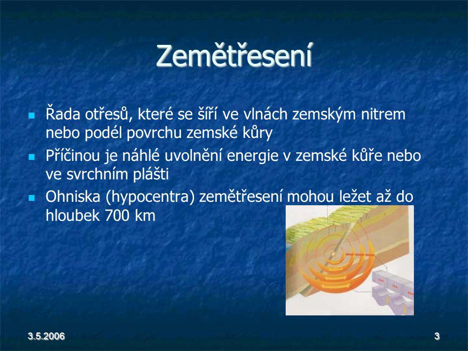 3.5.20063 Zemětřesení Řada otřesů, které se šíří ve vlnách zemským nitrem nebo podél povrchu zemské kůry Příčinou je náhlé uvolnění energie v zemské kůře nebo ve svrchním plášti Ohniska (hypocentra) zemětřesení mohou ležet až do hloubek 700 km
