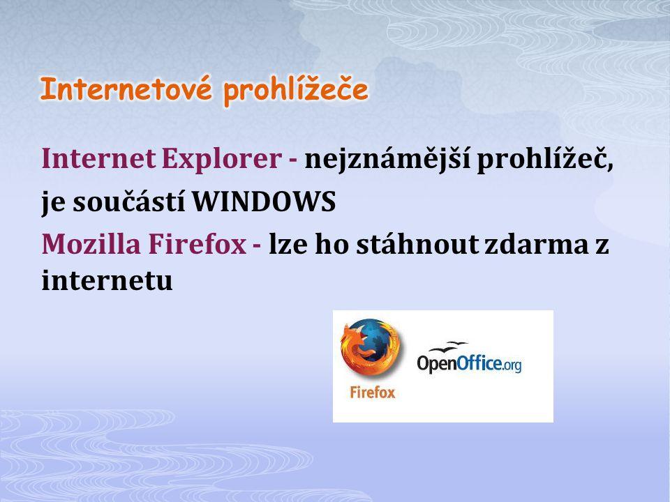 Internet Explorer - nejznámější prohlížeč, je součástí WINDOWS Mozilla Firefox - lze ho stáhnout zdarma z internetu