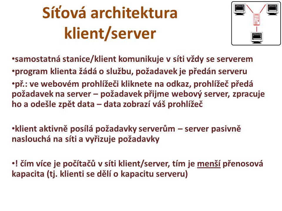 Síťová architektura klient/server samostatná stanice/klient komunikuje v síti vždy se serverem program klienta žádá o službu, požadavek je předán serveru př.: ve webovém prohlížeči kliknete na odkaz, prohlížeč předá požadavek na server – požadavek přijme webový server, zpracuje ho a odešle zpět data – data zobrazí váš prohlížeč klient aktivně posílá požadavky serverům – server pasivně naslouchá na síti a vyřizuje požadavky .