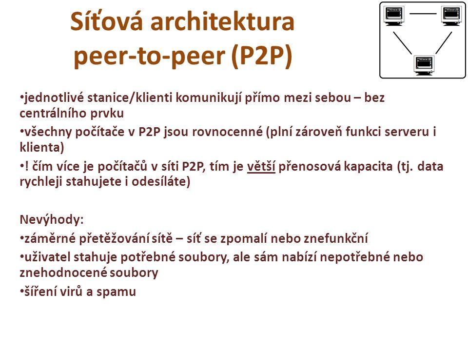 Síťová architektura peer-to-peer (P2P) jednotlivé stanice/klienti komunikují přímo mezi sebou – bez centrálního prvku všechny počítače v P2P jsou rovnocenné (plní zároveň funkci serveru i klienta) .