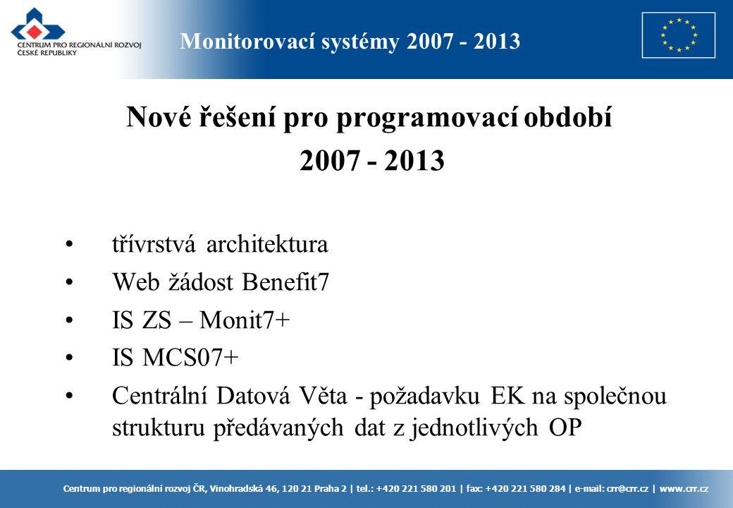 Monitorovací systémy 2007 - 2013 Centrum pro regionální rozvoj ČR, Vinohradská 46, 120 21 Praha 2 | tel.: +420 221 580 201 | fax: +420 221 580 284 | e