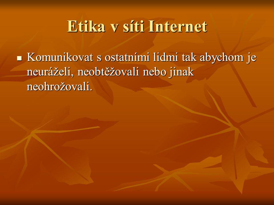 Etika v síti Internet Komunikovat s ostatními lidmi tak abychom je neuráželi, neobtěžovali nebo jinak neohrožovali. Komunikovat s ostatními lidmi tak