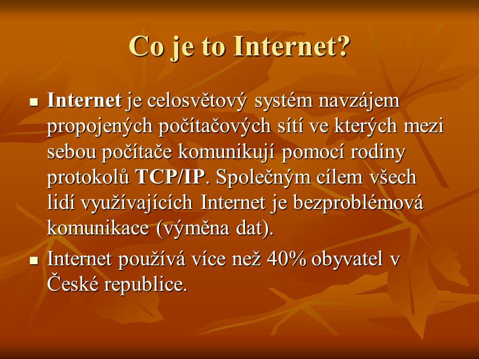Co je to Internet? Internet je celosvětový systém navzájem propojených počítačových sítí ve kterých mezi sebou počítače komunikují pomocí rodiny proto