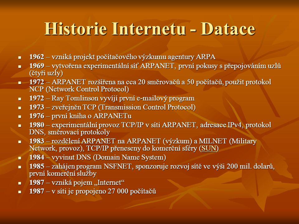 Historie Internetu - Datace 1989 – Tim Berners-Lee publikuje návrh vývoje WWW (Information Management: A Proposal) 1989 – Tim Berners-Lee publikuje návrh vývoje WWW (Information Management: A Proposal) 1990 – Tim Berners-Lee a Robert Cailliau publikují koncept hypertextu 1990 – Tim Berners-Lee a Robert Cailliau publikují koncept hypertextu 1990 – končí ARPANET 1990 – končí ARPANET 1991 – nasazení WWW v evropské laboratoři CERN 1991 – nasazení WWW v evropské laboratoři CERN 1992 – připojen Bílý dům (vstup vládních institucí na Internet) 1992 – připojen Bílý dům (vstup vládních institucí na Internet) 1993 – Marc Andreessen vyvíjí Mosaic, první WWW prohlížeč, a dává ho zdarma k dispozici 1993 – Marc Andreessen vyvíjí Mosaic, první WWW prohlížeč, a dává ho zdarma k dispozici 1994 – vyvinut prohlížeč Netscape Navigator 1994 – vyvinut prohlížeč Netscape Navigator 1994 – Internet se komercionalizuje 1994 – Internet se komercionalizuje 1996 – 55 milionů uživatelů 1996 – 55 milionů uživatelů 1999 – rozšiřuje se Napster 1999 – rozšiřuje se Napster 2000 – 250 milionů uživatelů 2000 – 250 milionů uživatelů 2003 – 600 milionů uživatelů 2003 – 600 milionů uživatelů 2005 – 900 milionů uživatelů 2005 – 900 milionů uživatelů 2006 – více než miliarda uživatelů 2006 – více než miliarda uživatelů