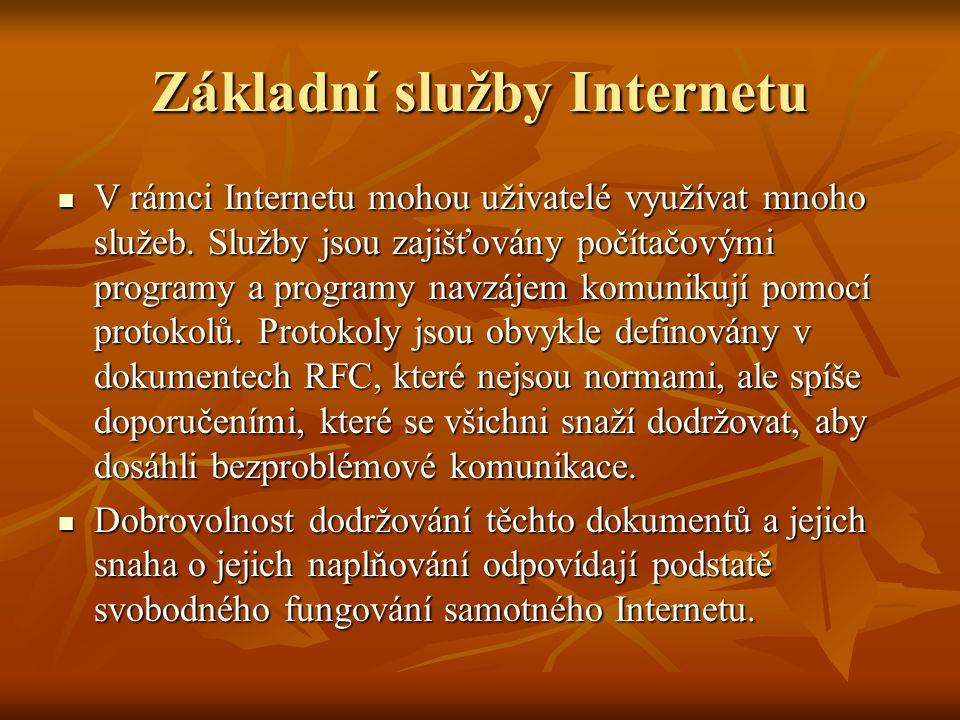 Základní služby Internetu V rámci Internetu mohou uživatelé využívat mnoho služeb. Služby jsou zajišťovány počítačovými programy a programy navzájem k