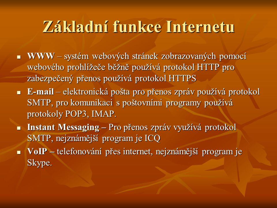 Základní funkce Internetu WWW – systém webových stránek zobrazovaných pomocí webového prohlížeče běžně používá protokol HTTP pro zabezpečený přenos po