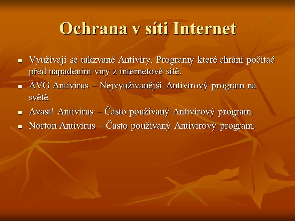 Ochrana v síti Internet Využívají se takzvané Antiviry. Programy které chrání počítač před napadením viry z internetové sítě. Využívají se takzvané An