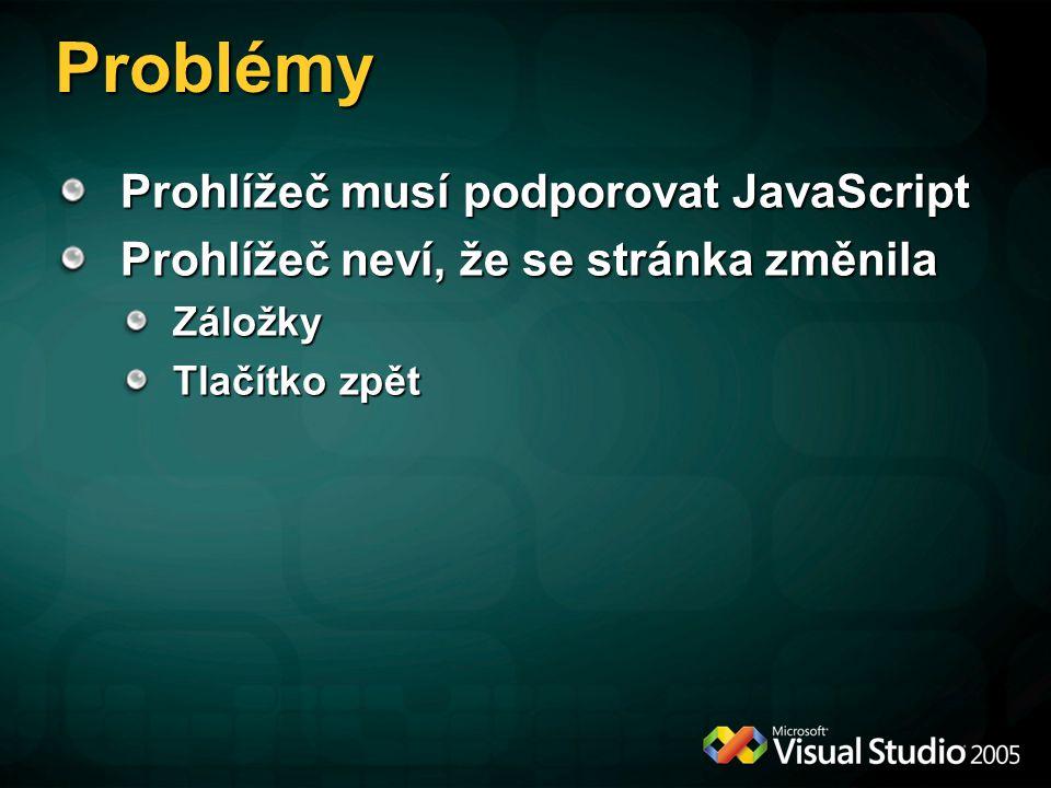Problémy Prohlížeč musí podporovat JavaScript Prohlížeč neví, že se stránka změnila Záložky Tlačítko zpět