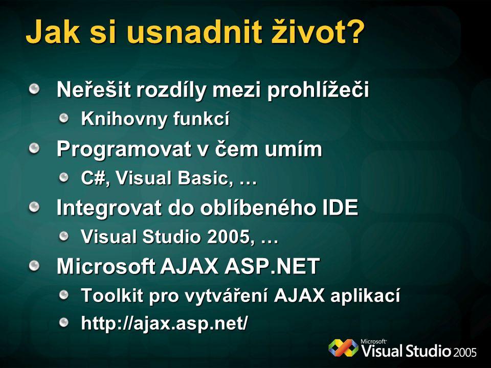 Jak si usnadnit život? Neřešit rozdíly mezi prohlížeči Knihovny funkcí Programovat v čem umím C#, Visual Basic, … Integrovat do oblíbeného IDE Visual