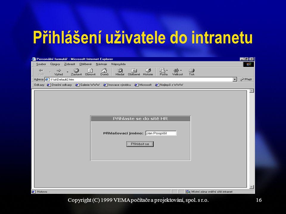 Copyright (C) 1999 VEMA počítače a projektování, spol. s r.o.16 Přihlášení uživatele do intranetu