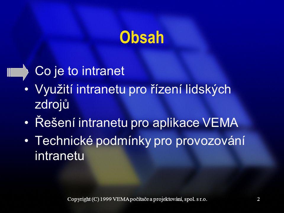 Copyright (C) 1999 VEMA počítače a projektování, spol. s r.o.13 Intranet pro aplikace VEMA