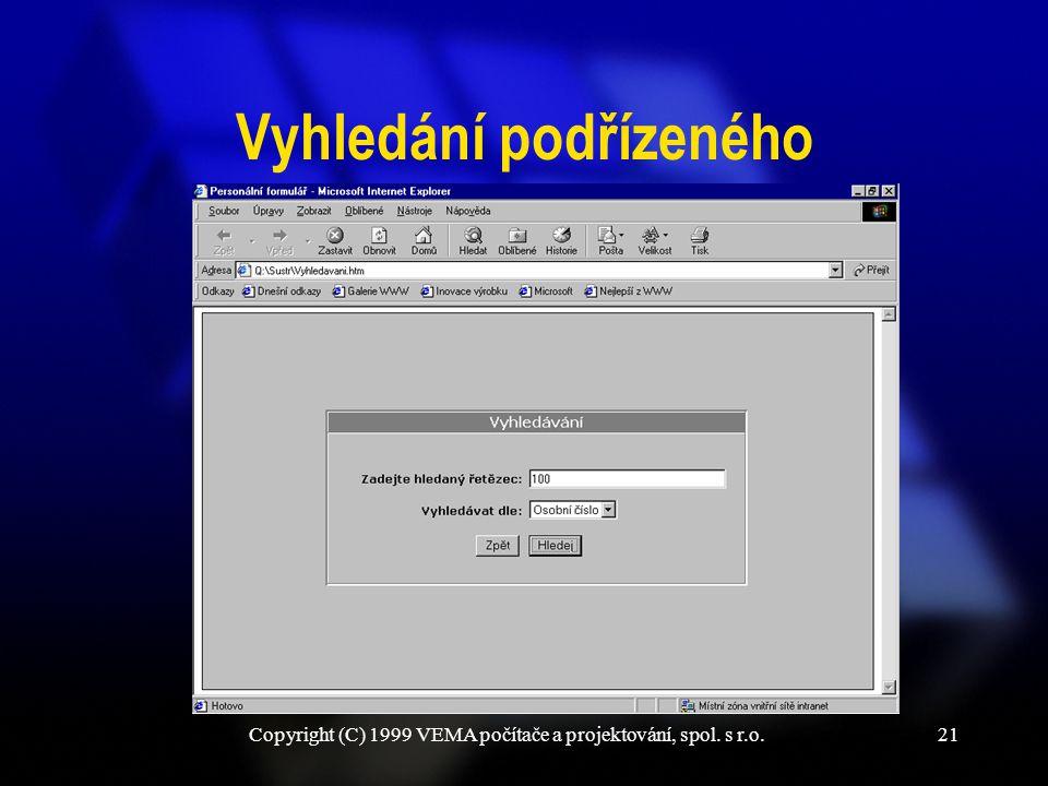 Copyright (C) 1999 VEMA počítače a projektování, spol. s r.o.21 Vyhledání podřízeného