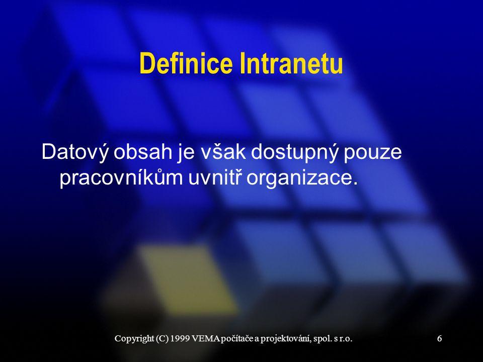 6 Definice Intranetu Datový obsah je však dostupný pouze pracovníkům uvnitř organizace.