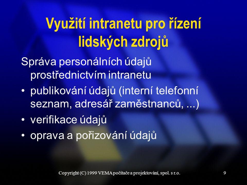Copyright (C) 1999 VEMA počítače a projektování, spol. s r.o.30 Děkuji za pozornost.