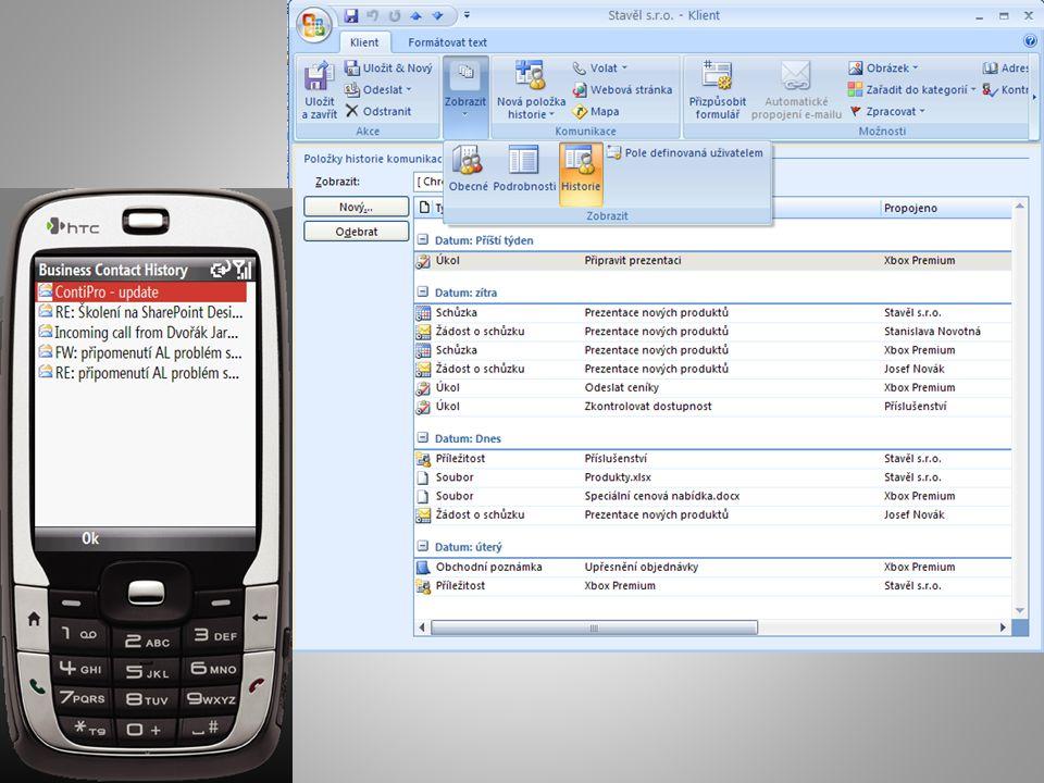 Zlepšete prodej a marketing Přehled o Vašich zákaznících, obchodních aktivitách a příležitostech – Kdokoliv kdykoliv ví o všem, co se u zákazníka děje, potřebné informace snadno a rychle vyhledá – Reagujte na požadavky a poptávku zákazníků rychleji než konkurence – Sledujte obchodní případy od poptávky až do uzavření Technologie Microsoft Outlook 2007 s doplňkem Business Contact Manager Microsoft Publisher 2007