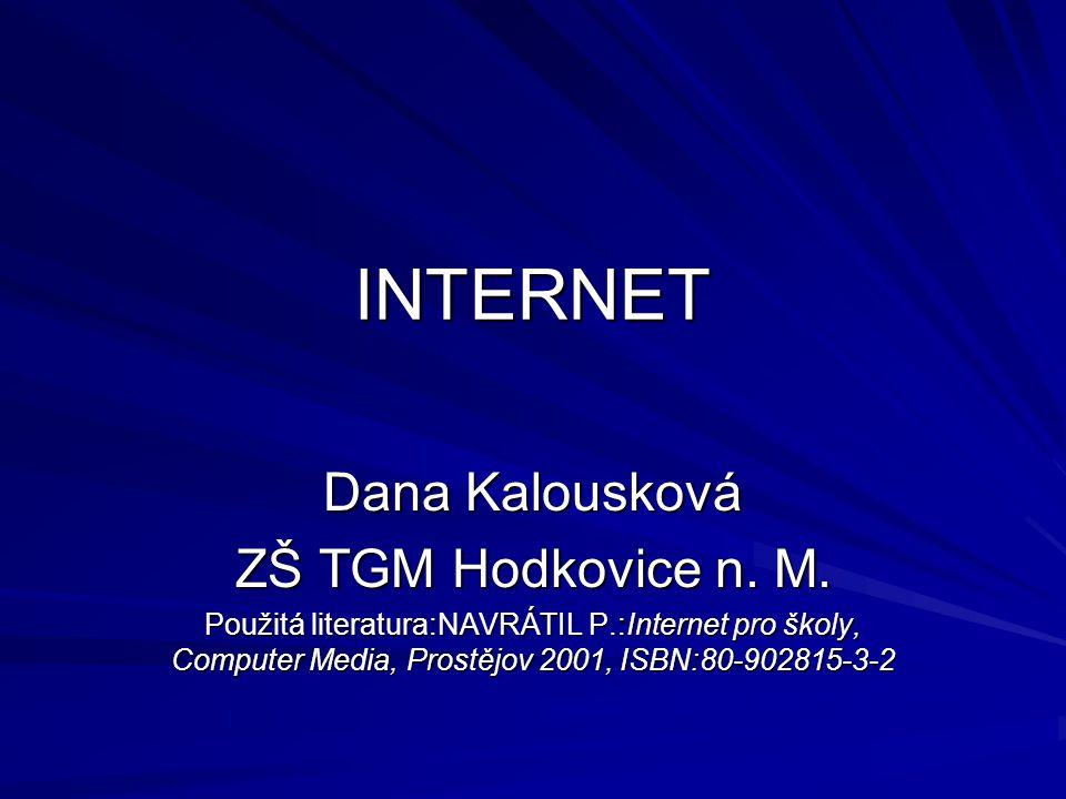 INTERNET Dana Kalousková ZŠ TGM Hodkovice n. M. Použitá literatura:NAVRÁTIL P.:Internet pro školy, Computer Media, Prostějov 2001, ISBN:80-902815-3-2
