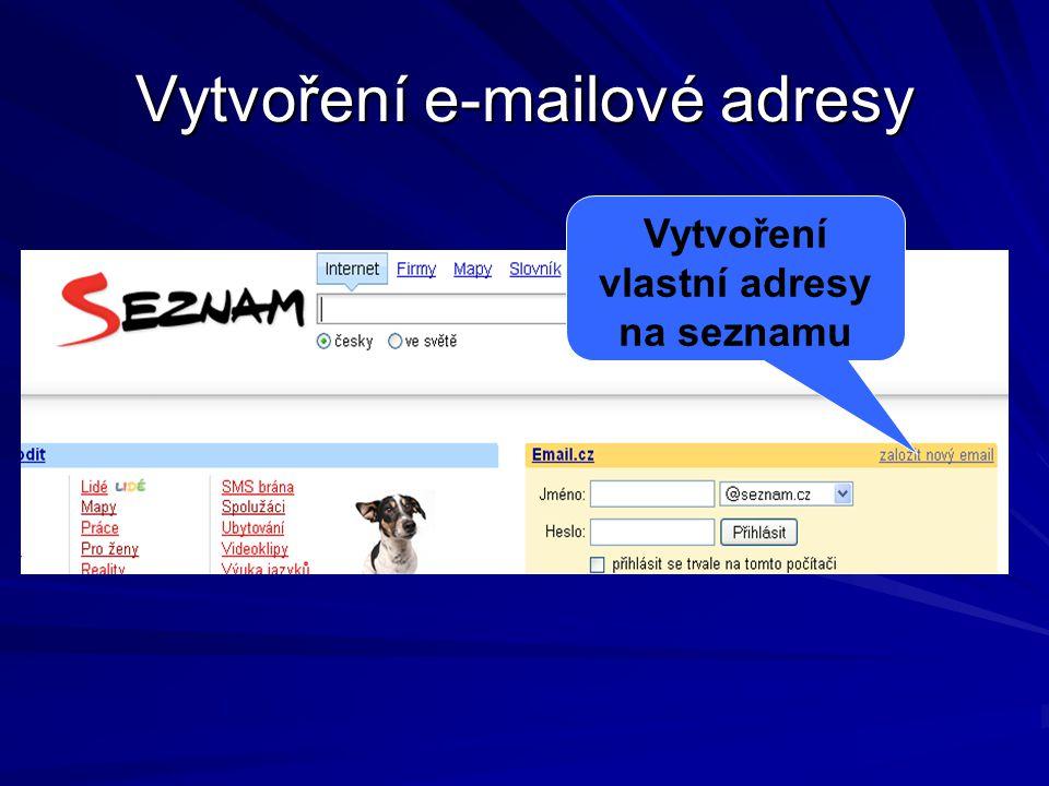 Vytvoření e-mailové adresy Vytvoření vlastní adresy na seznamu