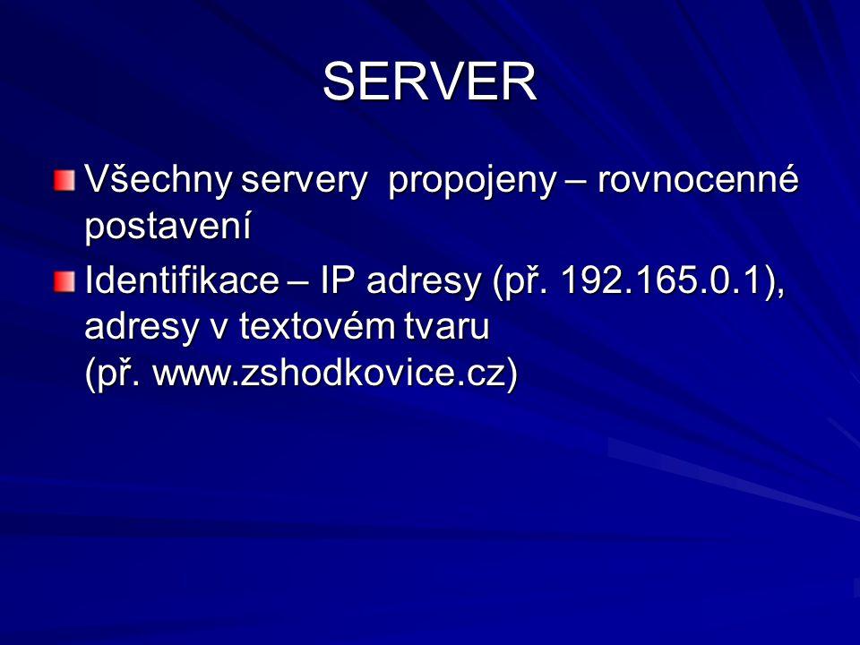 SERVER Všechny servery propojeny – rovnocenné postavení Identifikace – IP adresy (př. 192.165.0.1), adresy v textovém tvaru (př. www.zshodkovice.cz)