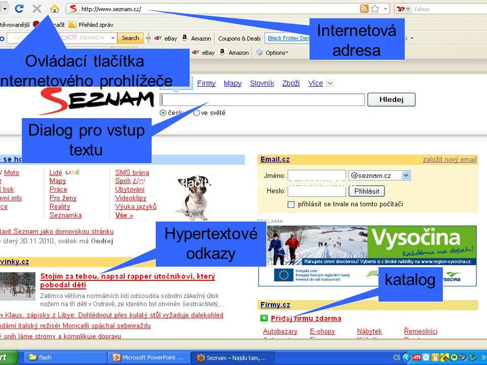 Ovládací tlačítka internetového prohlížeče Internetová adresa katalog Dialog pro vstup textu Hypertextové odkazy
