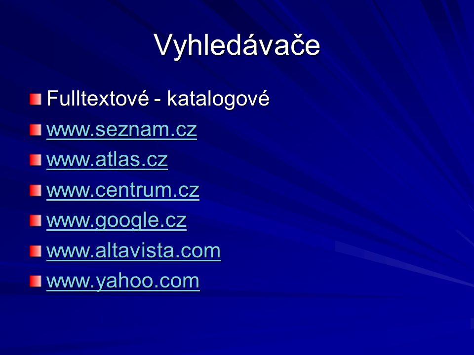 Vyhledávače Fulltextové - katalogové www.seznam.cz www.atlas.cz www.centrum.cz www.google.cz www.altavista.com www.yahoo.com