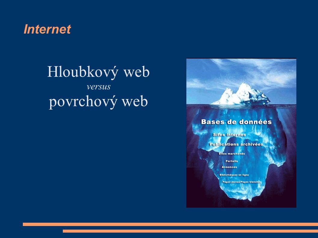 Internet Hloubkový web versus povrchový web