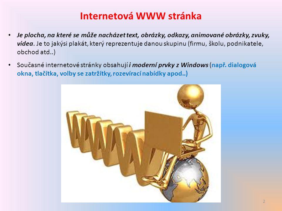 2 Internetová WWW stránka Je plocha, na které se může nacházet text, obrázky, odkazy, animované obrázky, zvuky, videa. Je to jakýsi plakát, který repr