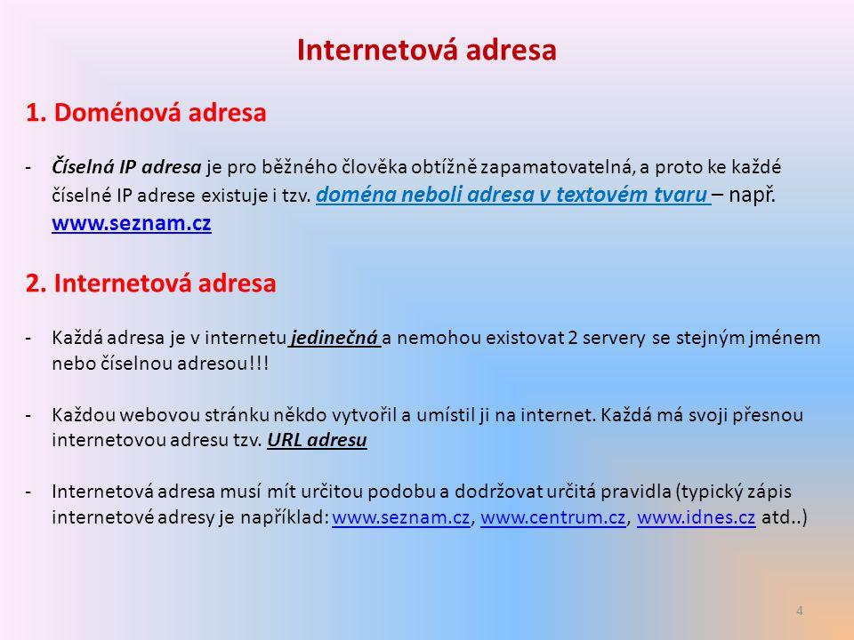 4 Internetová adresa 1. Doménová adresa -Číselná IP adresa je pro běžného člověka obtížně zapamatovatelná, a proto ke každé číselné IP adrese existuje