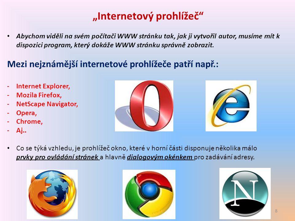 """8 """"Internetový prohlížeč"""" Abychom viděli na svém počítači WWW stránku tak, jak ji vytvořil autor, musíme mít k dispozici program, který dokáže WWW str"""