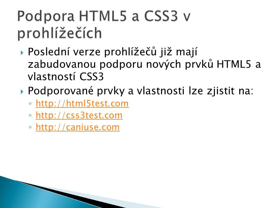  Poslední verze prohlížečů již mají zabudovanou podporu nových prvků HTML5 a vlastností CSS3  Podporované prvky a vlastnosti lze zjistit na: ◦ http://html5test.com http://html5test.com ◦ http://css3test.com http://css3test.com ◦ http://caniuse.com http://caniuse.com