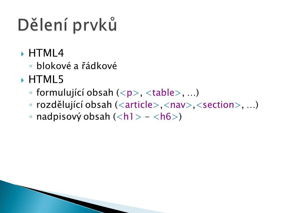 HTML4 ◦ blokové a řádkové  HTML5 ◦ formulující obsah (,, …) ◦ rozdělující obsah (,,, …) ◦ nadpisový obsah ( - )