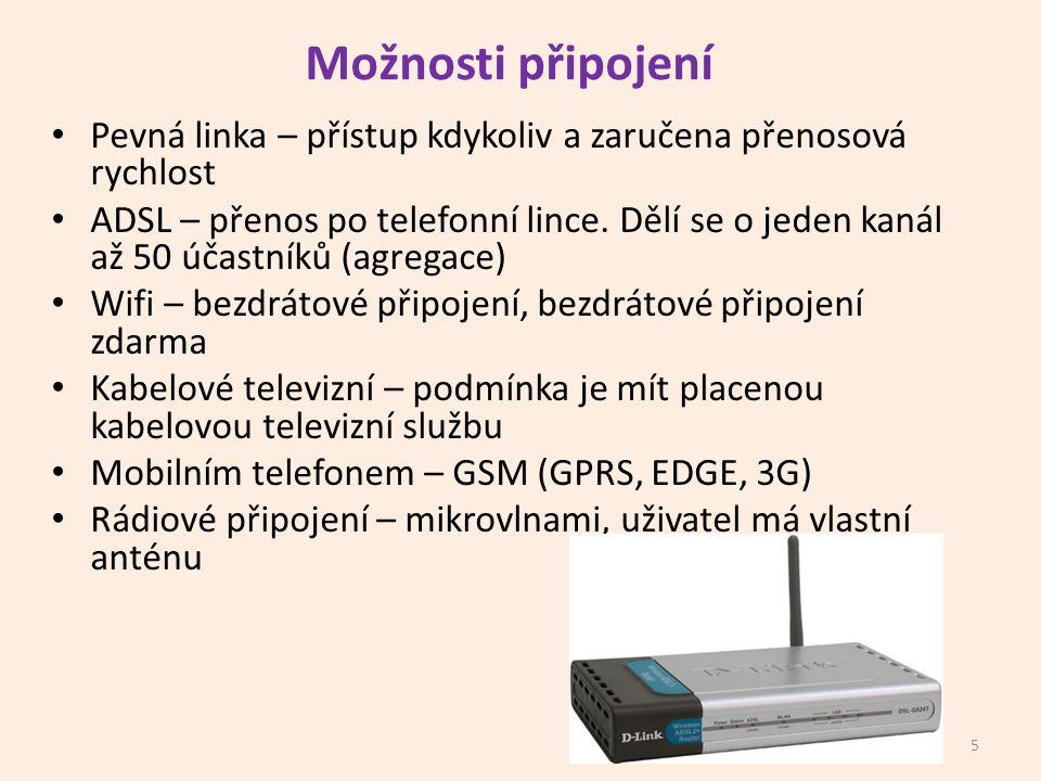 Možnosti připojení Pevná linka – přístup kdykoliv a zaručena přenosová rychlost ADSL – přenos po telefonní lince.