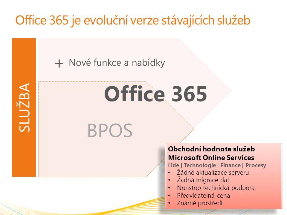 BPOS Office 365 je evoluční verze stávajících služeb 2 Office 365 Obchodní hodnota služeb Microsoft Online Services Lidé | Technologie | Finance | Procesy Žádné aktualizace serveru Žádná migrace dat Nonstop technická podpora Předvídatelná cena Známé prostředí Obchodní hodnota služeb Microsoft Online Services Lidé | Technologie | Finance | Procesy Žádné aktualizace serveru Žádná migrace dat Nonstop technická podpora Předvídatelná cena Známé prostředí Nové funkce a nabídky + SLUŽBA