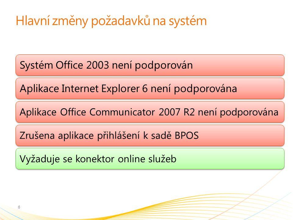 Hlavní změny požadavků na systém 6 Systém Office 2003 není podporovánAplikace Internet Explorer 6 není podporována Aplikace Office Communicator 2007 R2 není podporovánaZrušena aplikace přihlášení k sadě BPOSVyžaduje se konektor online služeb