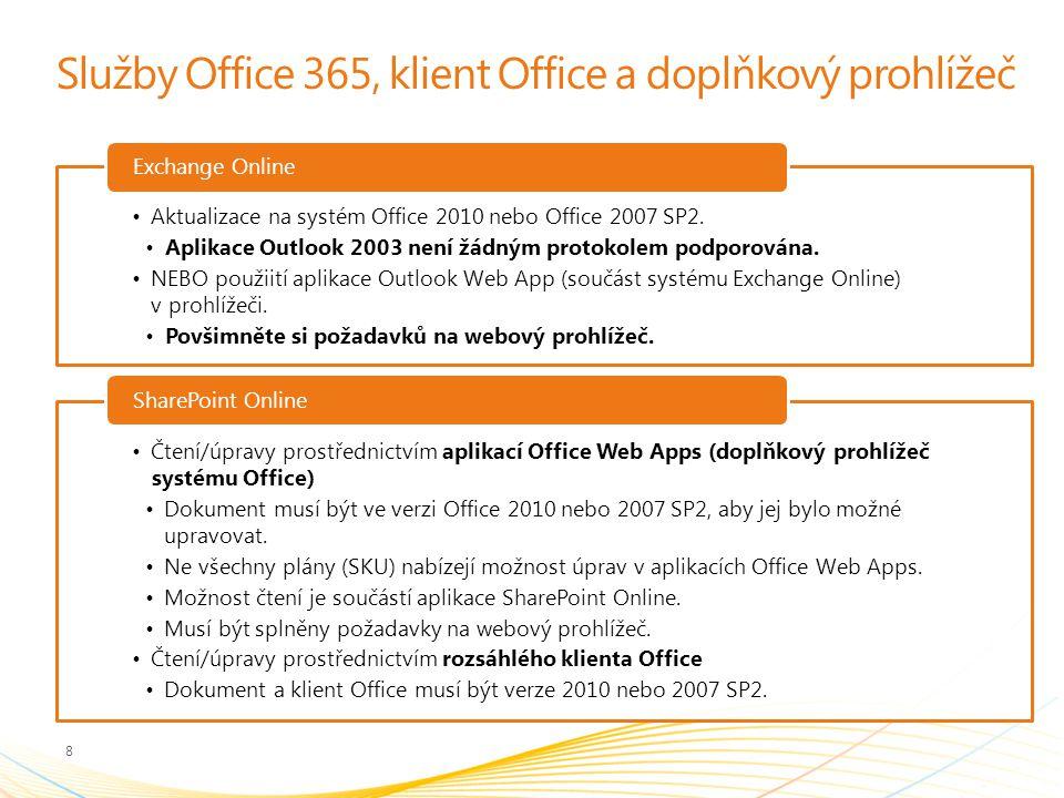 Služby Office 365, klient Office a doplňkový prohlížeč Aktualizace na systém Office 2010 nebo Office 2007 SP2.