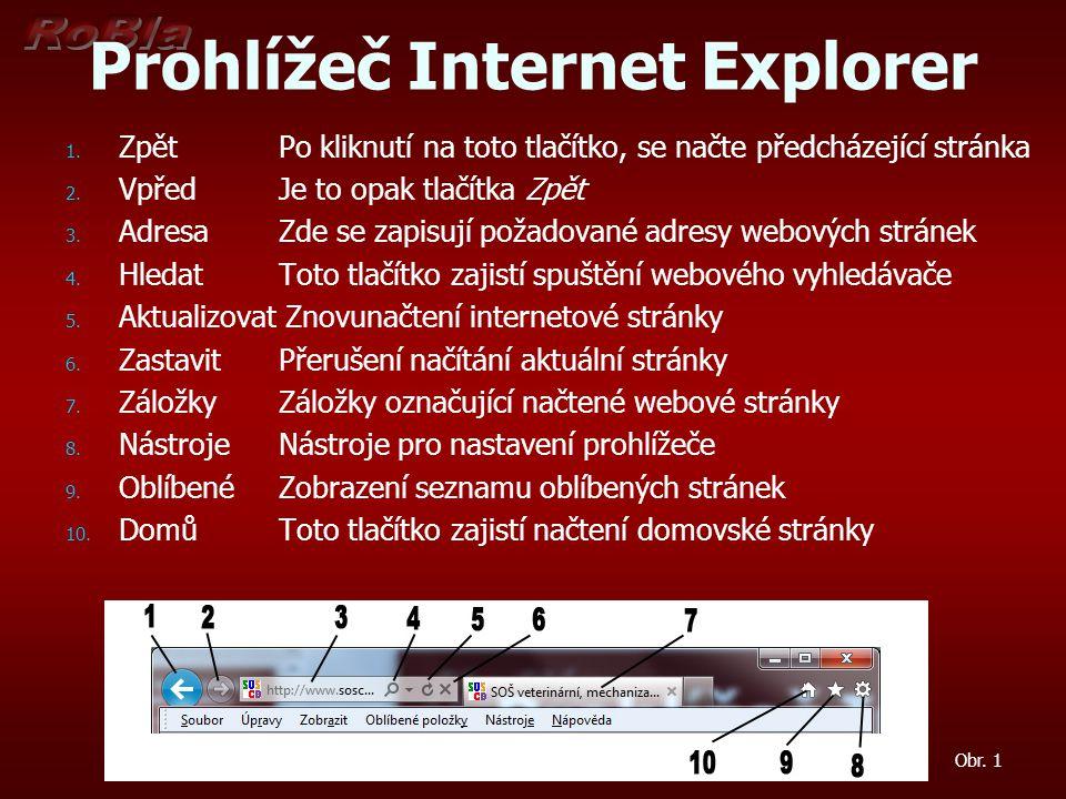 Prohlížeč Internet Explorer 1. 1. Zpět Po kliknutí na toto tlačítko, se načte předcházející stránka 2. 2. VpředJe to opak tlačítka Zpět 3. 3. AdresaZd
