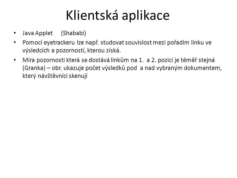 Klientská aplikace Java Applet(Shababi) Pomocí eyetrackeru lze např.
