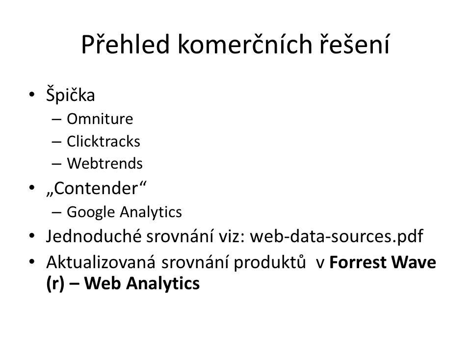 """Přehled komerčních řešení Špička – Omniture – Clicktracks – Webtrends """"Contender – Google Analytics Jednoduché srovnání viz: web-data-sources.pdf Aktualizovaná srovnání produktů v Forrest Wave (r) – Web Analytics"""