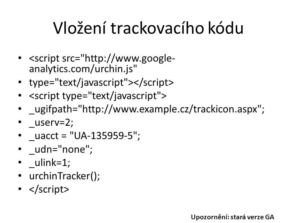 Vložení trackovacího kódu <script src= http://www.google- analytics.com/urchin.js type= text/javascript > _ugifpath= http://www.example.cz/trackicon.aspx ; _userv=2; _uacct = UA-135959-5 ; _udn= none ; _ulink=1; urchinTracker(); Upozornění: stará verze GA