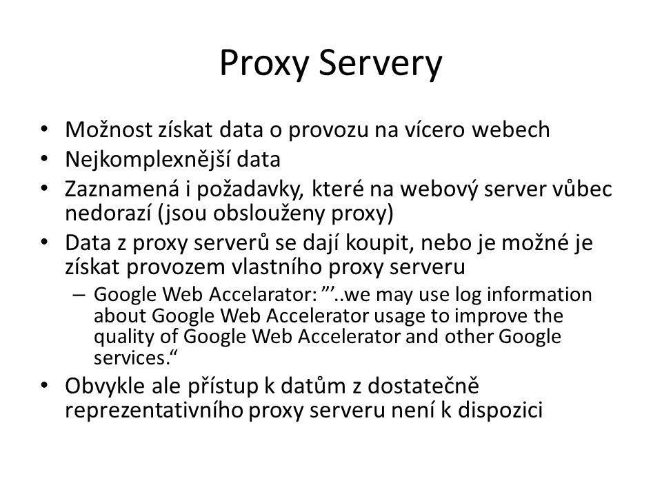 Proxy Servery Možnost získat data o provozu na vícero webech Nejkomplexnější data Zaznamená i požadavky, které na webový server vůbec nedorazí (jsou obslouženy proxy) Data z proxy serverů se dají koupit, nebo je možné je získat provozem vlastního proxy serveru – Google Web Accelarator: '..we may use log information about Google Web Accelerator usage to improve the quality of Google Web Accelerator and other Google services. Obvykle ale přístup k datům z dostatečně reprezentativního proxy serveru není k dispozici
