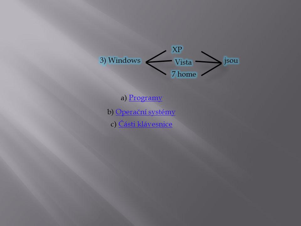 a) ProgramyProgramy b) Operační systémyOperační systémy c) Části klávesniceČásti klávesnice
