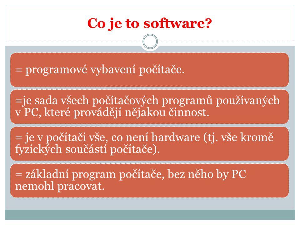 Dělení softwaru 1) Systémový software – zajišťuje chod počítače a jeho styk s okolím a) operační systém (Windows, Linux) b) správce souborů (Total Commander) c) antivirové programy (Avast, AVG) 2) Aplikační software – použití na vlastní práci (textové programy, tabulkové programy, výukové programy,….)
