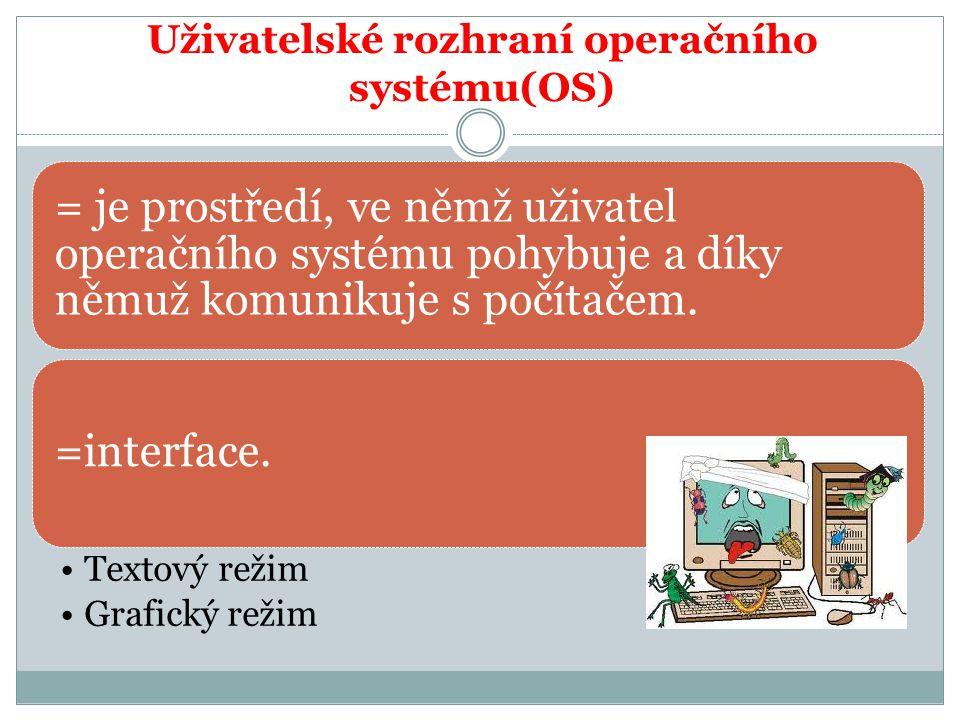 Uživatelské rozhraní operačního systému(OS) = je prostředí, ve němž uživatel operačního systému pohybuje a díky němuž komunikuje s počítačem. =interfa