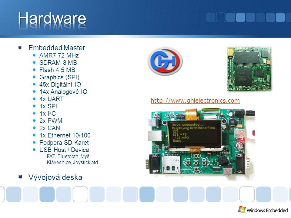 Embedded Master AMR7 72 MHz SDRAM 8 MB Flash 4.5 MB Graphics (SPI) 45x Digitální IO 14x Analogové IO 4x UART 1x SPI 1x I 2 C 2x PWM 2x CAN 1x Ethernet 10/100 Podpora SD Karet USB Host / Device FAT, Bluetooth, Myš, Klávesnice, Joystick atd..