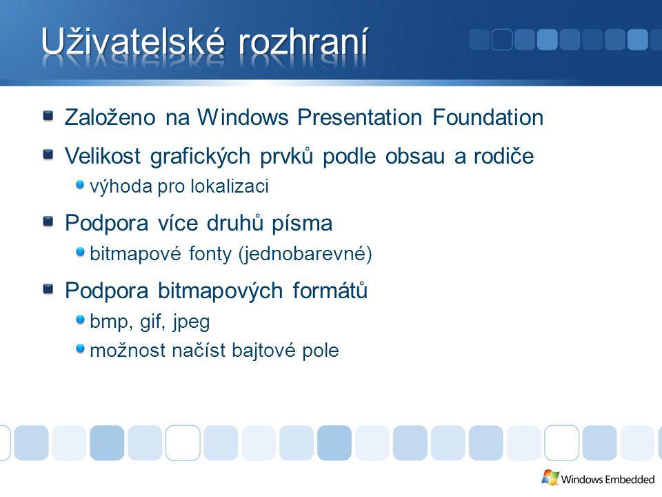Založeno na Windows Presentation Foundation Velikost grafických prvků podle obsau a rodiče výhoda pro lokalizaci Podpora více druhů písma bitmapové fonty (jednobarevné) Podpora bitmapových formátů bmp, gif, jpeg možnost načíst bajtové pole