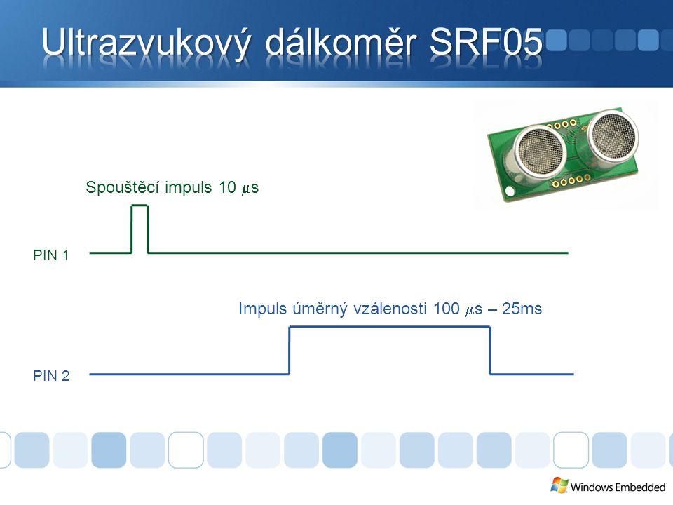 PIN 1 PIN 2 Spouštěcí impuls 10  s Impuls úměrný vzálenosti 100  s – 25ms